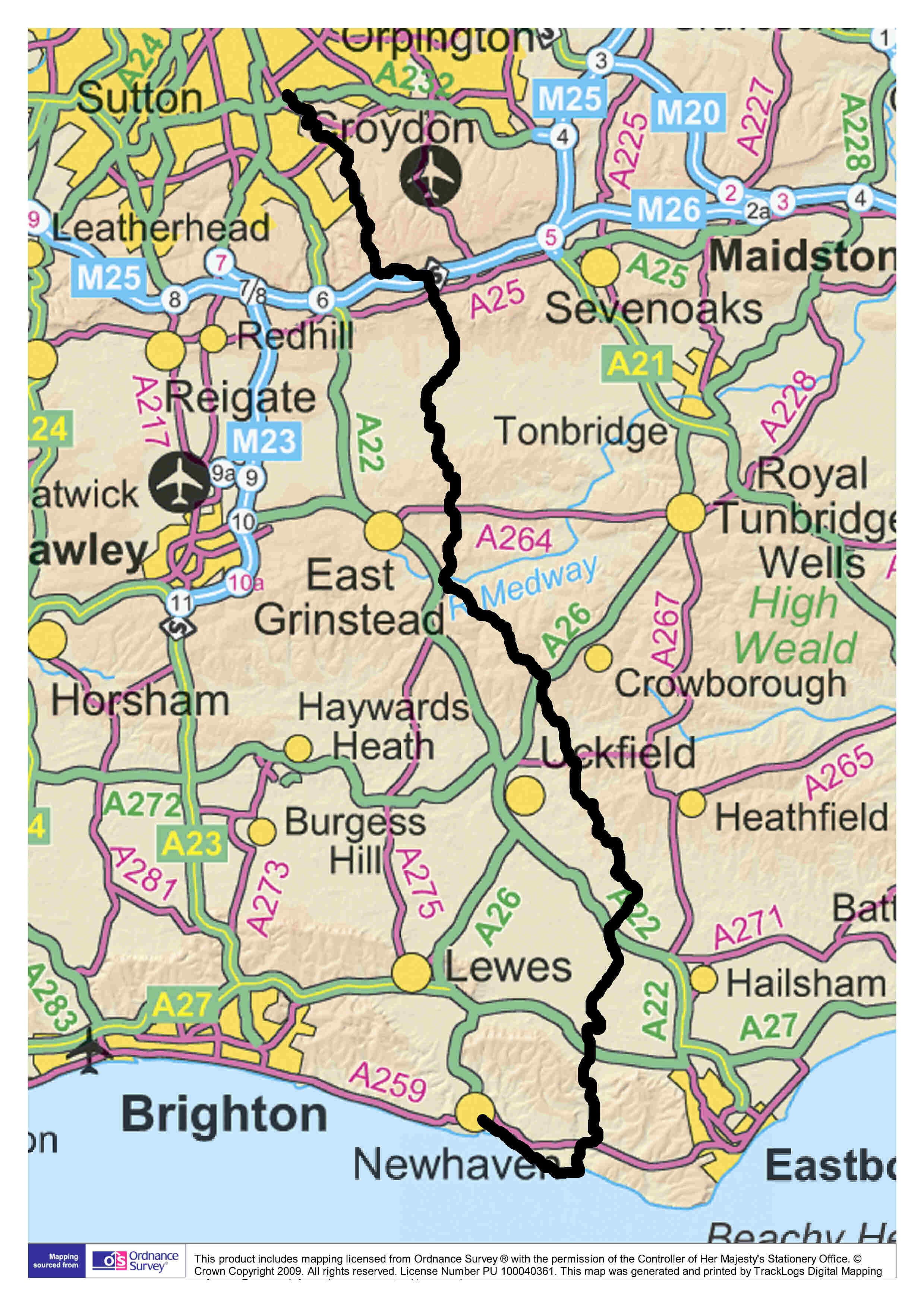 The Vanguard Way Longdistance Walking Trail - Map out walking distance